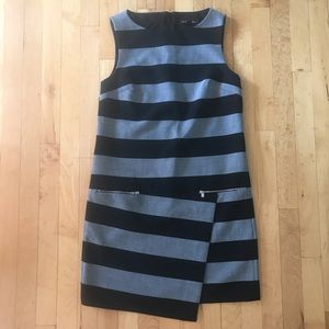 Black and Grey Striped Banana Republic Dress